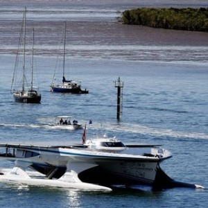 Solar powered ship Turanor Planet Solar stops in Cairns