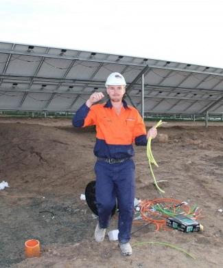 SI Clean Energy Electrician working on Royalla solar farm