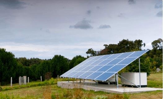 off grid solar power system in a field west of Brisbane